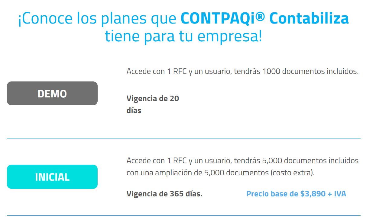 paquete demo e inicial de CONTABILIZA